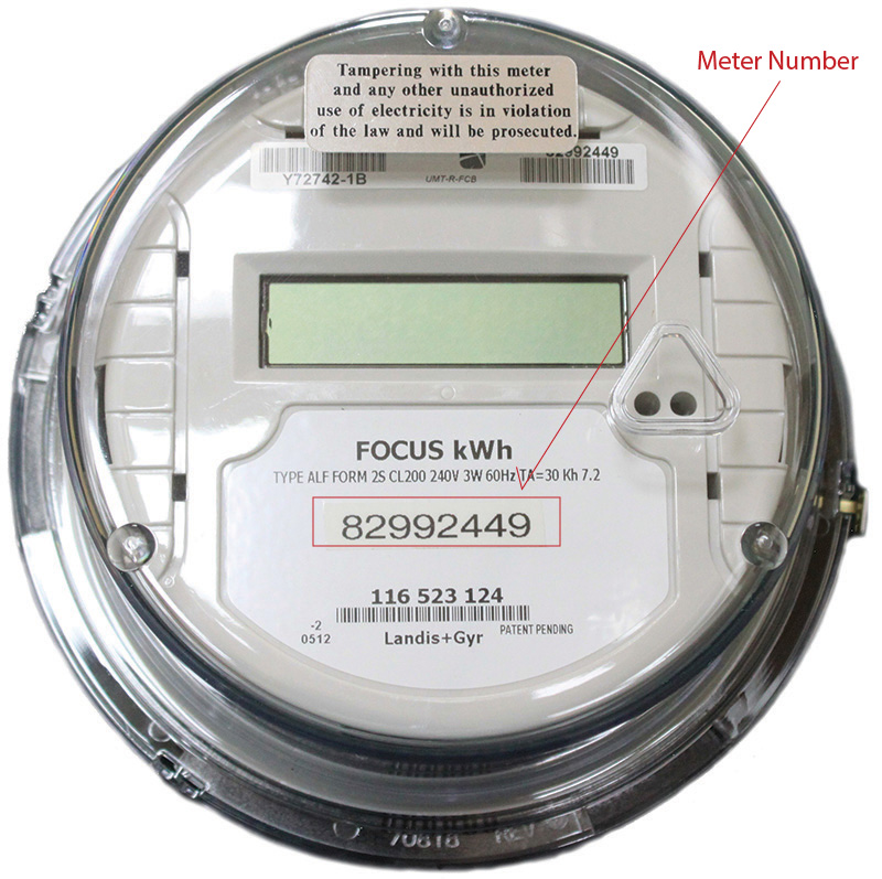 Meter number at location